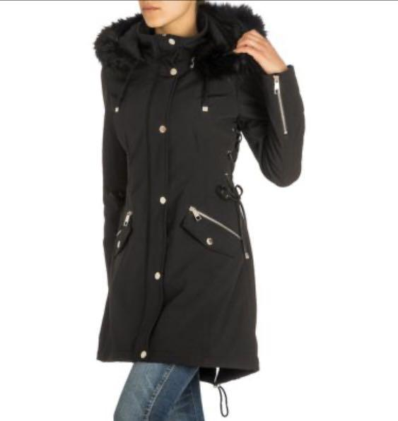 Soft Shell Lace-Up Faux Fur-Trimmed Jacket - Black XS