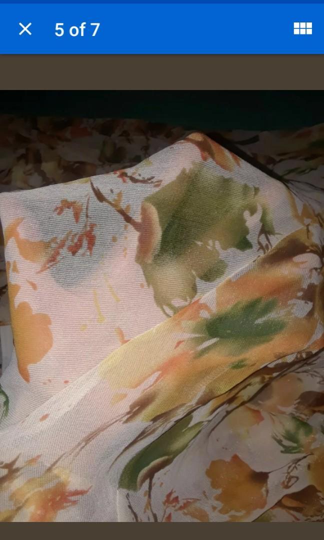 Vintage floral sheer chiffon peach cream leather straps boho dress small / medium #SwapCA