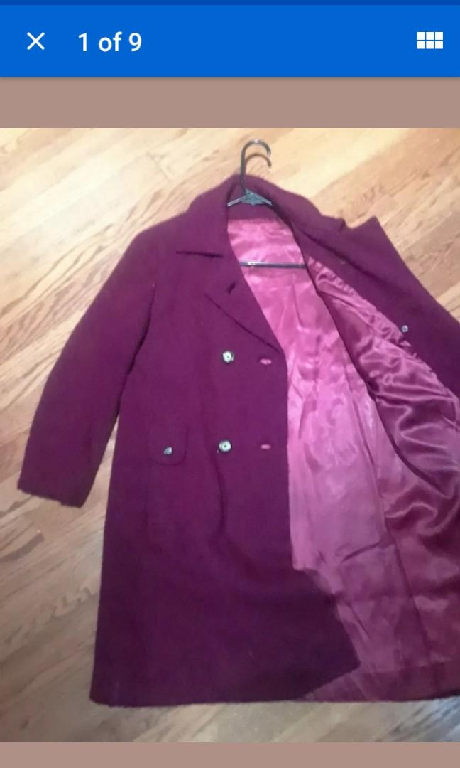 Vintage magenta purple heavy Wool pink satin lining Winter coat jacket Large #SwapCA