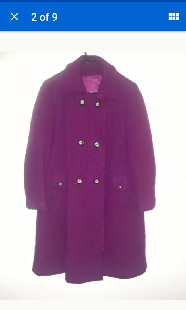 Vintage magenta purple heavy Wool pink satin lining Winter coat jacket Large #SwapCA