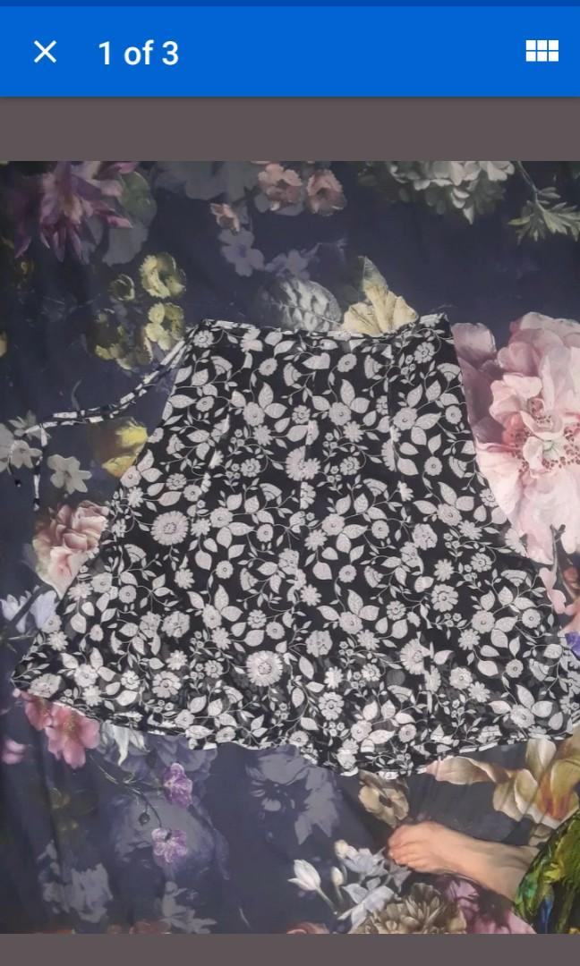 Vintage retro Flare skirt floral print black white mod art 90s sparkle chiffon M #SwapCA
