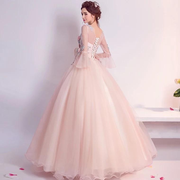 Wedding Dress Peach Floral Longsleeves Wedding Dress #budgetbride