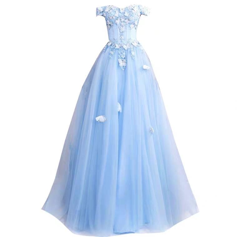 Wedding Light Blue Gown wedding photoshoot #budgetbrides #offshoulder