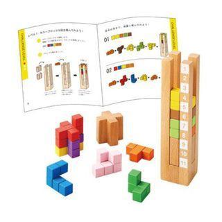 【預購】日本 | 小天才(484285):天然木材*積木!益智遊戲玩具組(包裝:約22x21x5.7cm)_免運。