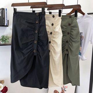 #2020掰掰 綠色開衩包臀抓皺遮小腹裙