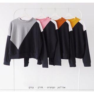 contrast sweater (grey-black, orange-black)