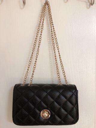 💕黑色菱格紋金屬鏈條 肩背 斜背小包 💗 小資女精選