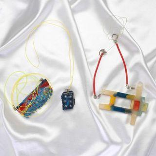 One Set Colorful Rainbow Long Necklaces