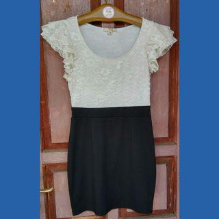 Mini Dress Black& White Stretch #promosidress