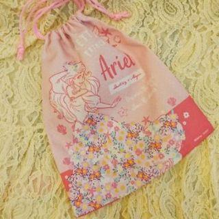全新日本迪士尼小美人魚束口袋 粉紅