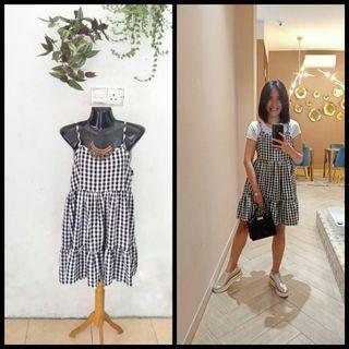 Korean dress / dres kotak kotak / dress cantik/ dress import / dress Korea