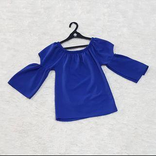 Korean top / blouse biru / cut off blouse / blouse import / atasan biru