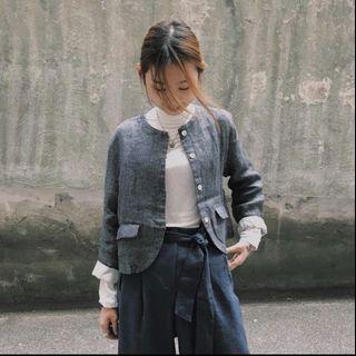 全新 • 韓國麻質灰黑西裝外套