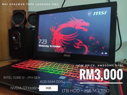 MSI GP62MVR 7RFX Leopard Pro Gaming Laptop MURAH