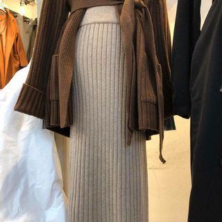 Cover 羊毛針織壓紋長裙