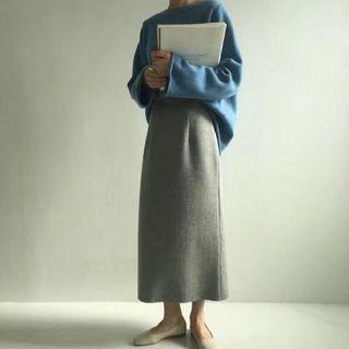 Cover 灰色鬚邊毛料挺版開衩裙