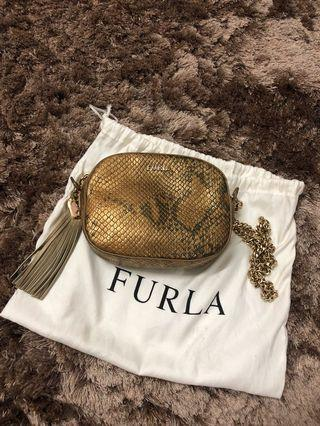 AUTHENTIC / ORIGINAL Furla Snake-Embossed Leather Crossbody Bag (Limited Edition)