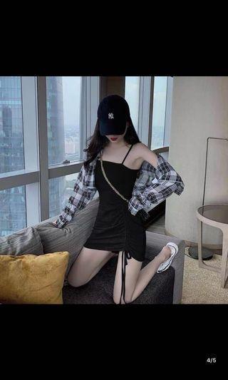 黑色性感抽繩緊身洋裝❤️