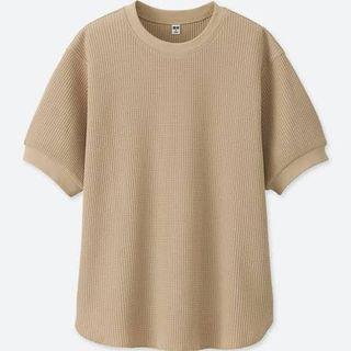 Uniqlo Beige Waffle Knit Top