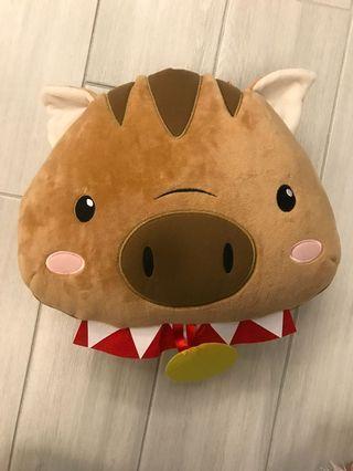 山豬造型抱枕毯