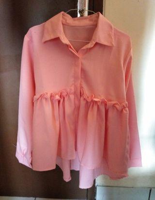 Blouse Pink Ruffle / kemeja ruffle
