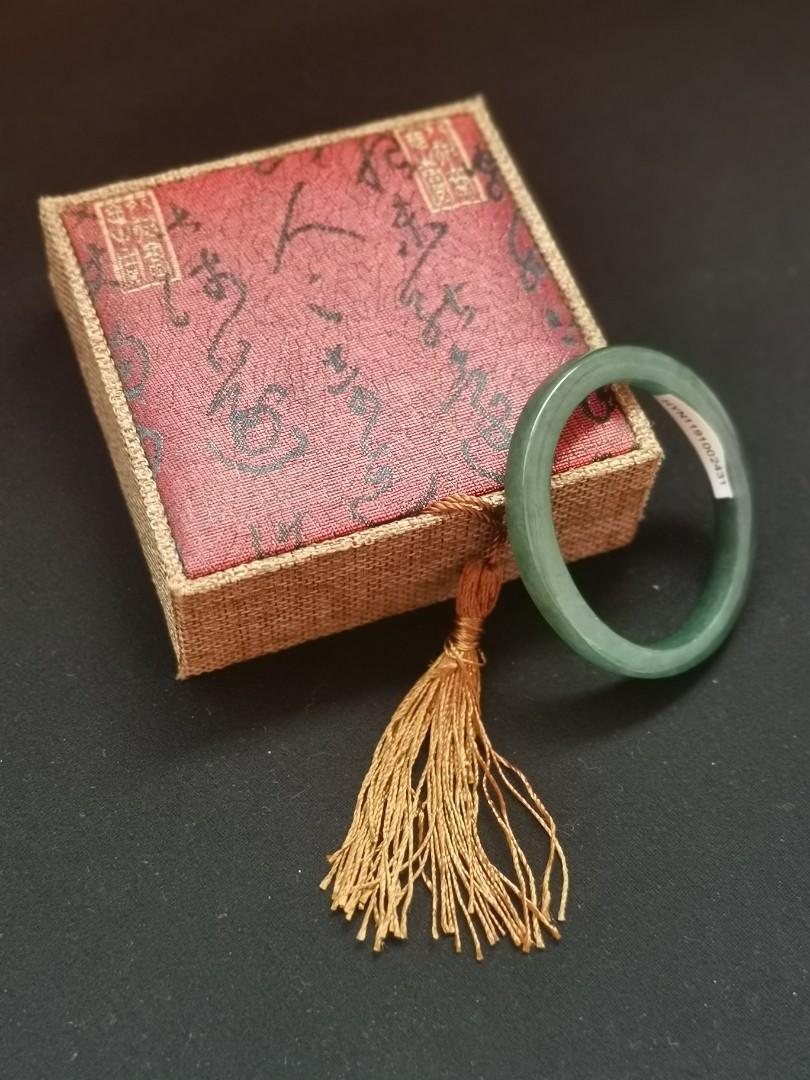 56mm oval type A jadeite bangle (油晴蓝水方贵妃细福镯)