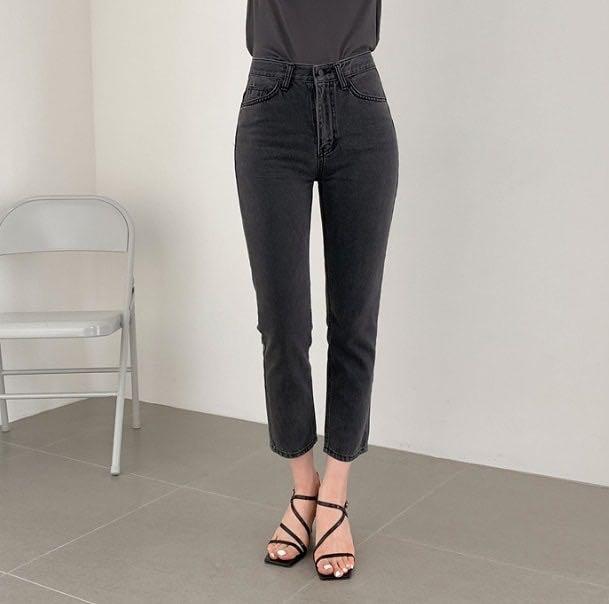 灰黑8分直筒牛仔褲