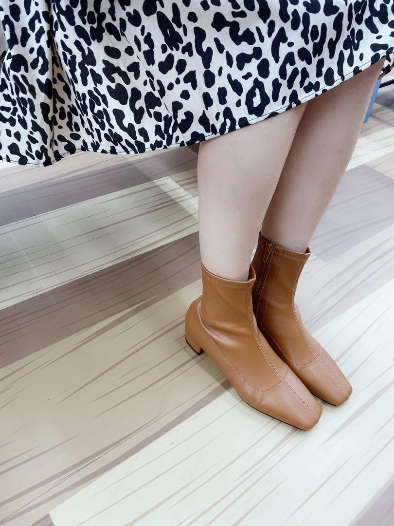 韓國代購🇰🇷方頭車線襪套靴