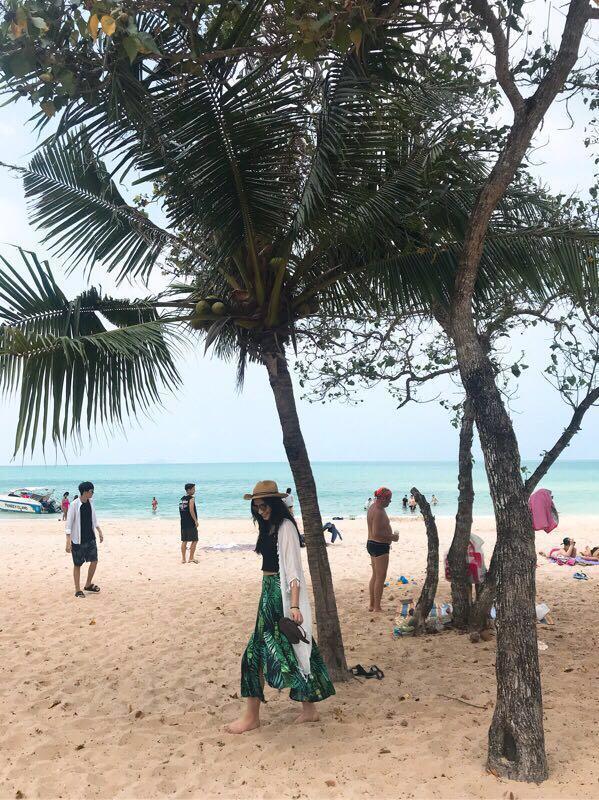 椰子樹雪紡開衩度假長裙 沙灘裙 波西米亞 泰國 峇里島 椰樹 葉 二手