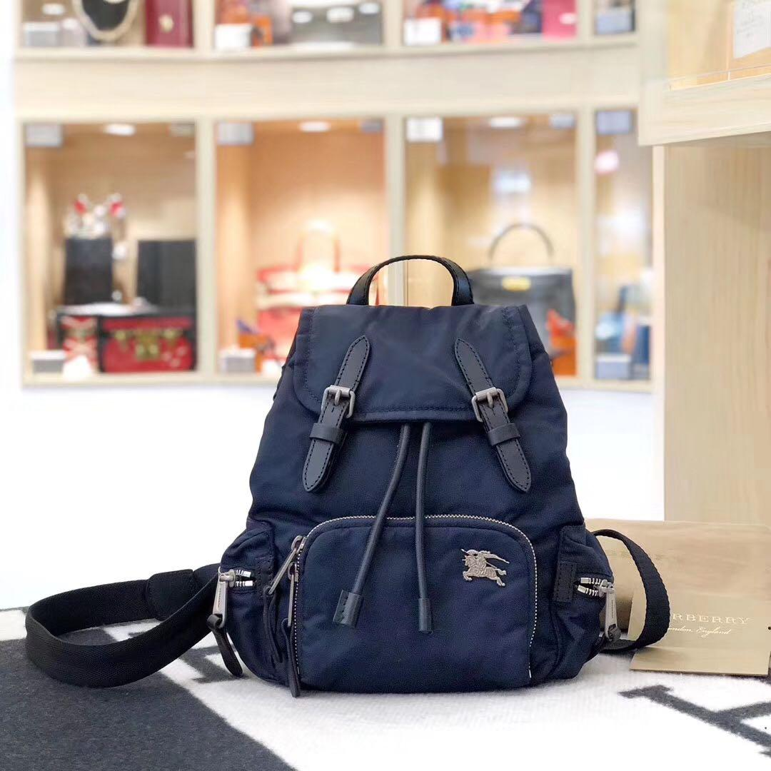 Authentic Brand New Burberry Medium Backpack in Puffer Nylon and Leather (Ink Blue)