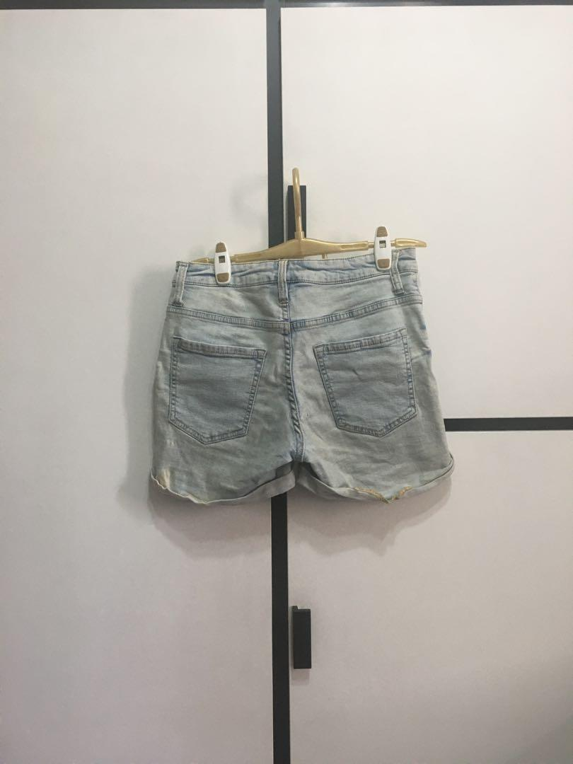 Bershka Light Blue Denim Shorts