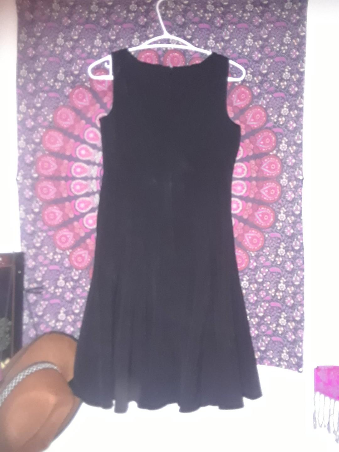 Calvin Klein little black dress panelled flare skirt 6 Small #SwapCA