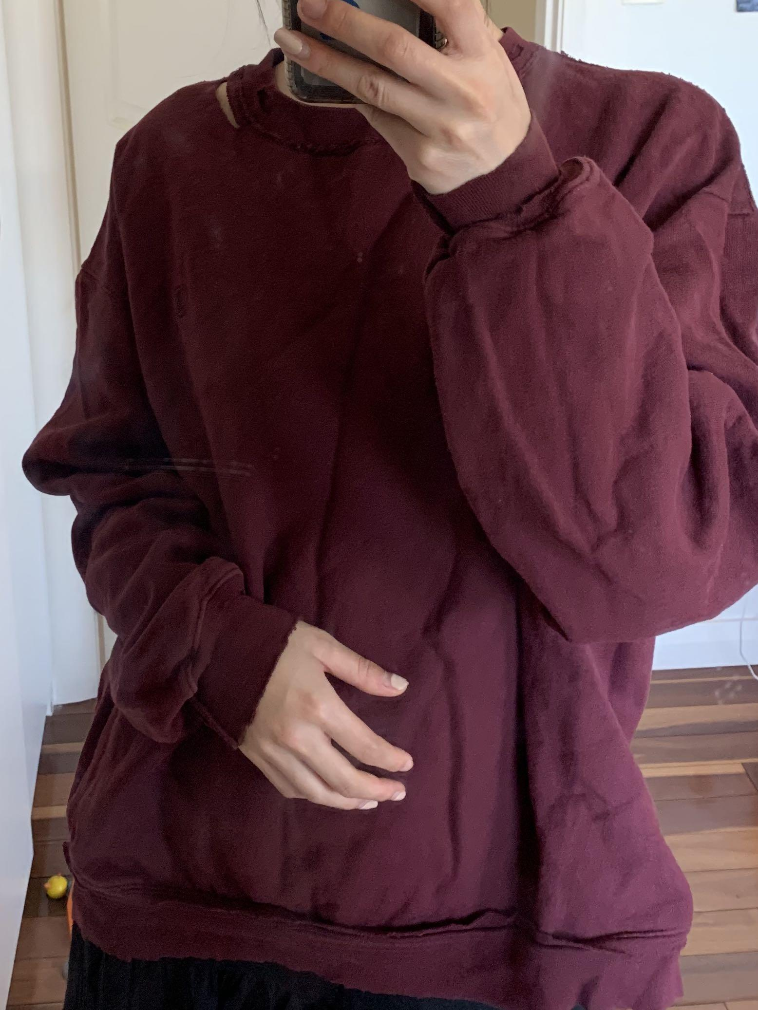 Champion authentic maroon distressed jumper size XL