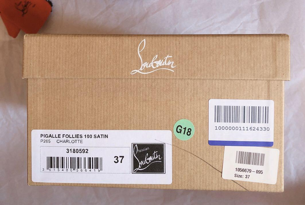 Christian Louboutin Pigalle Follies 100 Satin Heels Size 37 BNWB