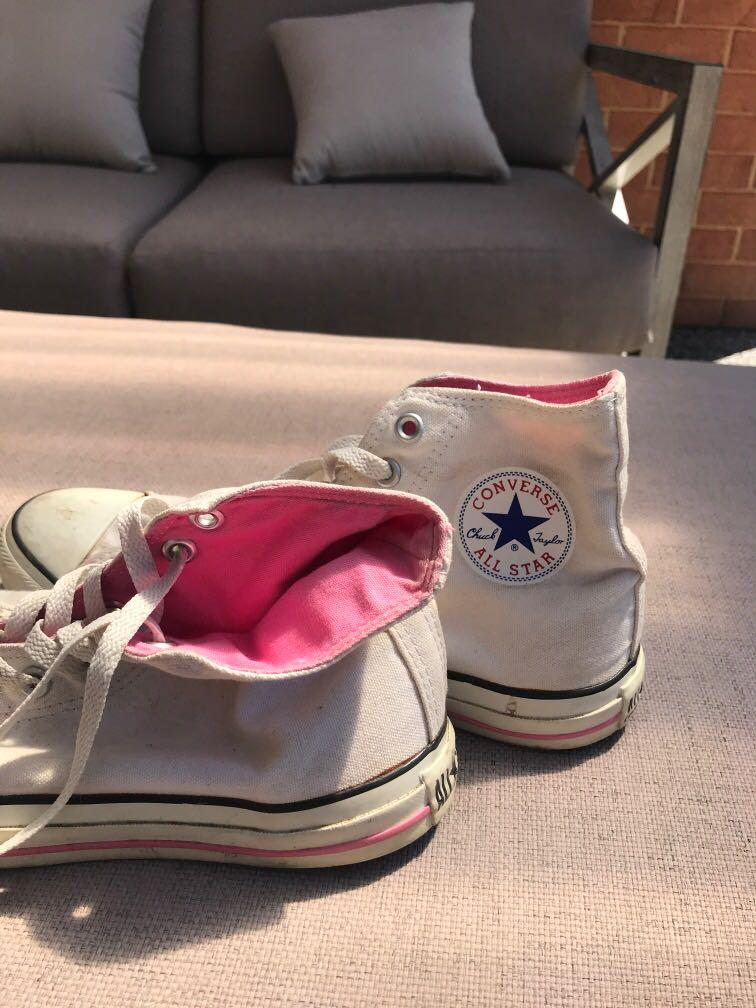 Converse White and Pink All Star High Double Tongue