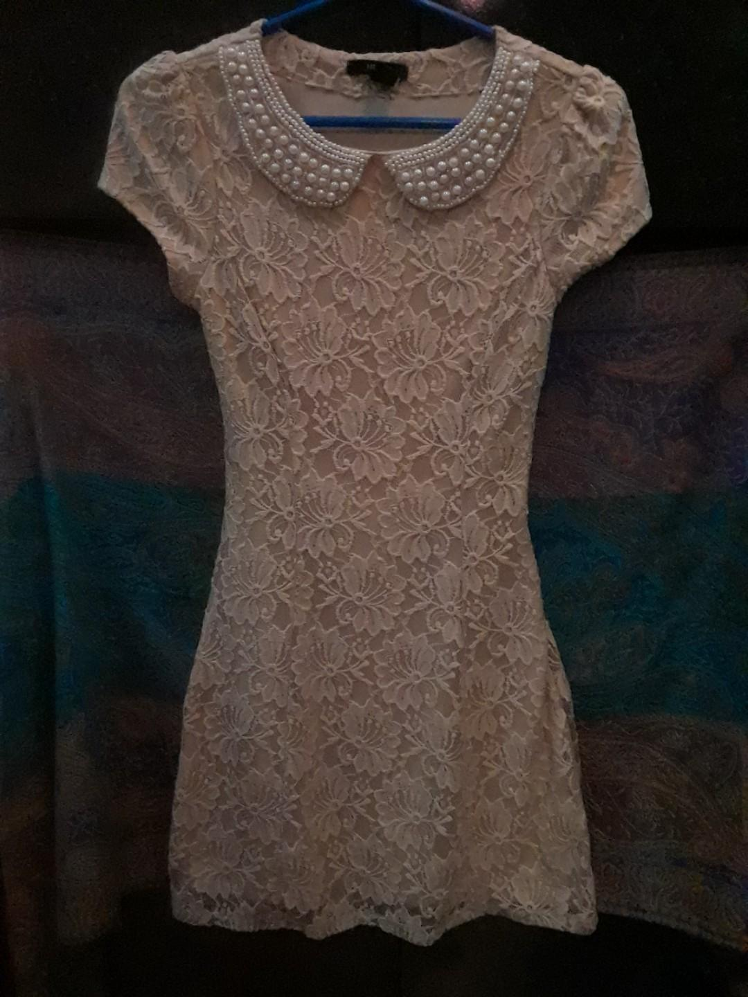 Forever 21 pearl collar cream white lace cap sleeve dress small / XS #SwapCA