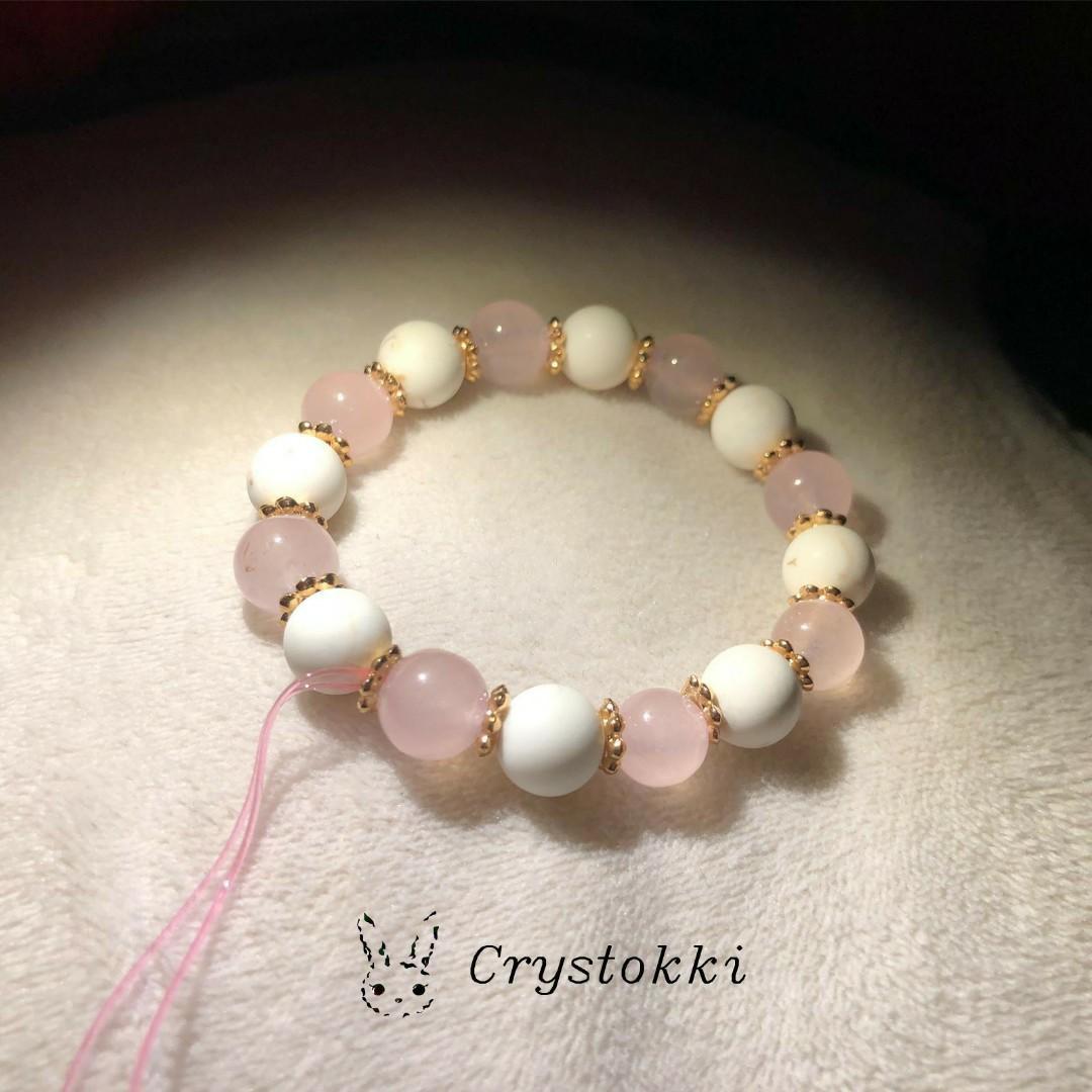 Handmade Customizable Rose Quartz and White Howlite  Crystal Bracelet