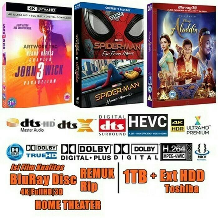 Hardisk toshiba 1TB isi film 4K|FullHD|3D kualitas BluRay Disc REMUX