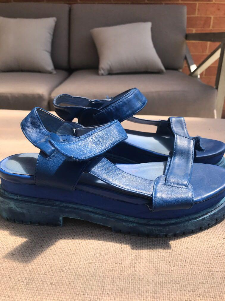Jeffery Campbell Royal Blue Flatform Sandals size 8.5