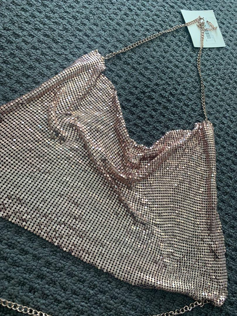 Missguided rose gold chain mail top brand new size 6