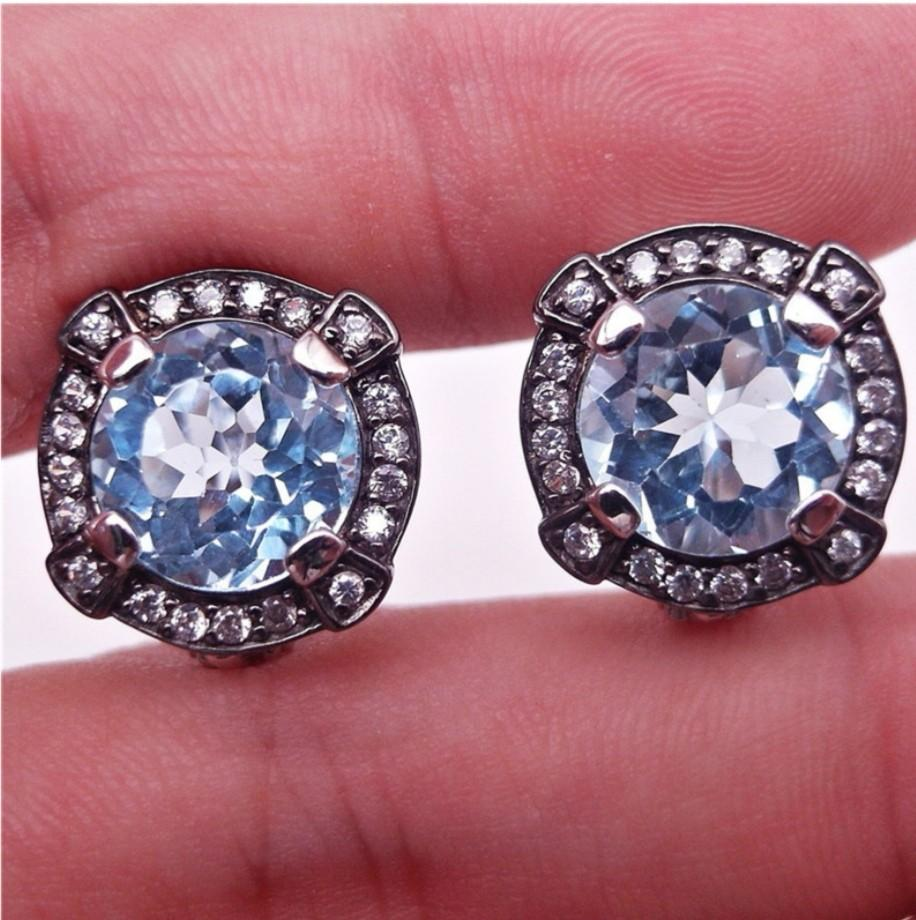 NATURAL EARRINGS SKY BLUE TOPAZ 10MM PLATED WHITE GOLD 925 STERLING PERAK ASLI IMPORT PARTY SUBANG