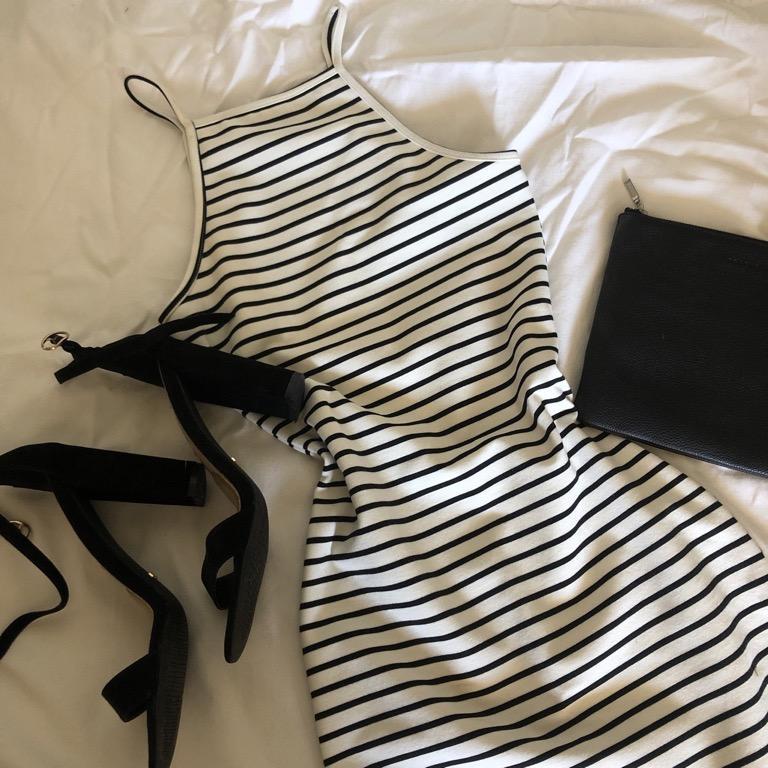 Neon Hart black & white striped halter, body con dress
