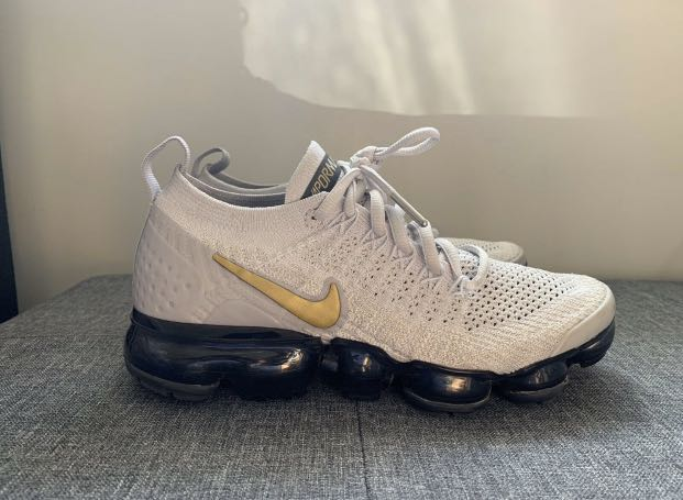 Nike Flyknit Vapormax (Platinum White and Gold)