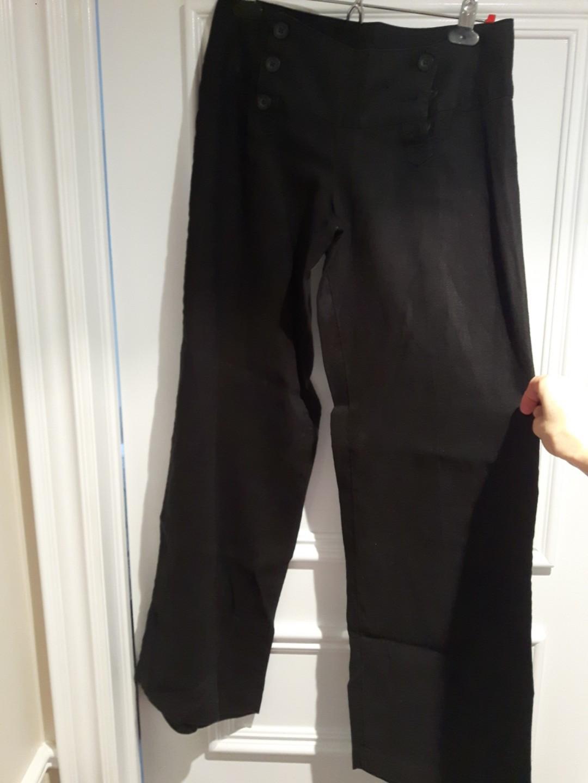 Sailor style Pants Immitation Linen  wide leg size 4