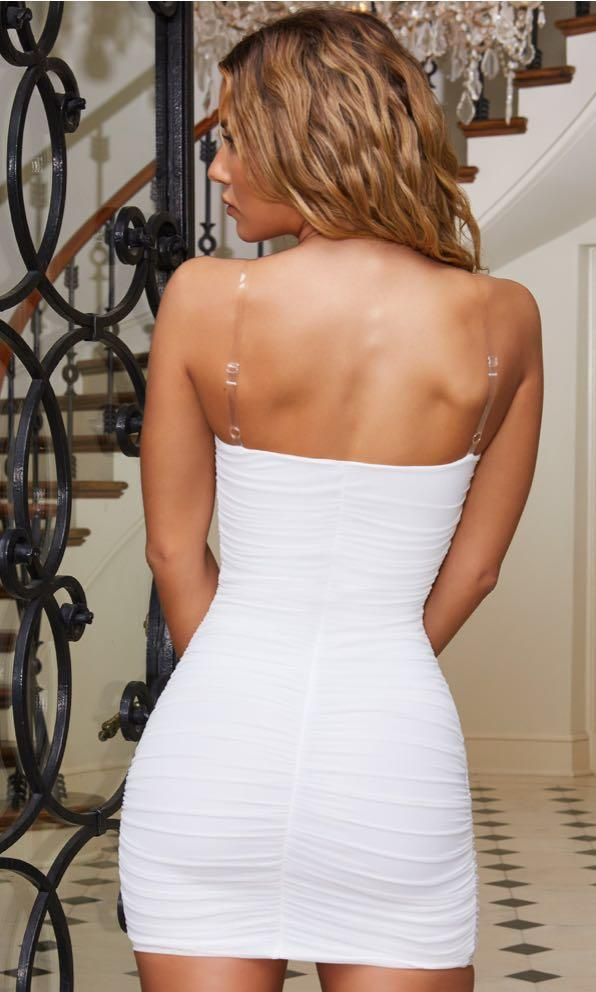 Second Skin Clear Strap Mesh Ruched Bodycon Mini Dress in White