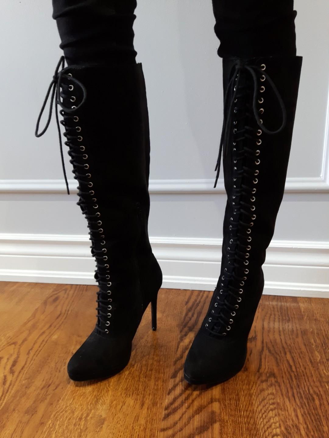 Faux Suede Platform knee high boots w side zipper and front  lace size 7 (F21)