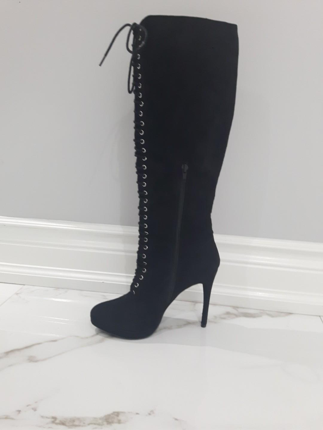 Suede Platform knee high boots w side zipper and front  lace size 7
