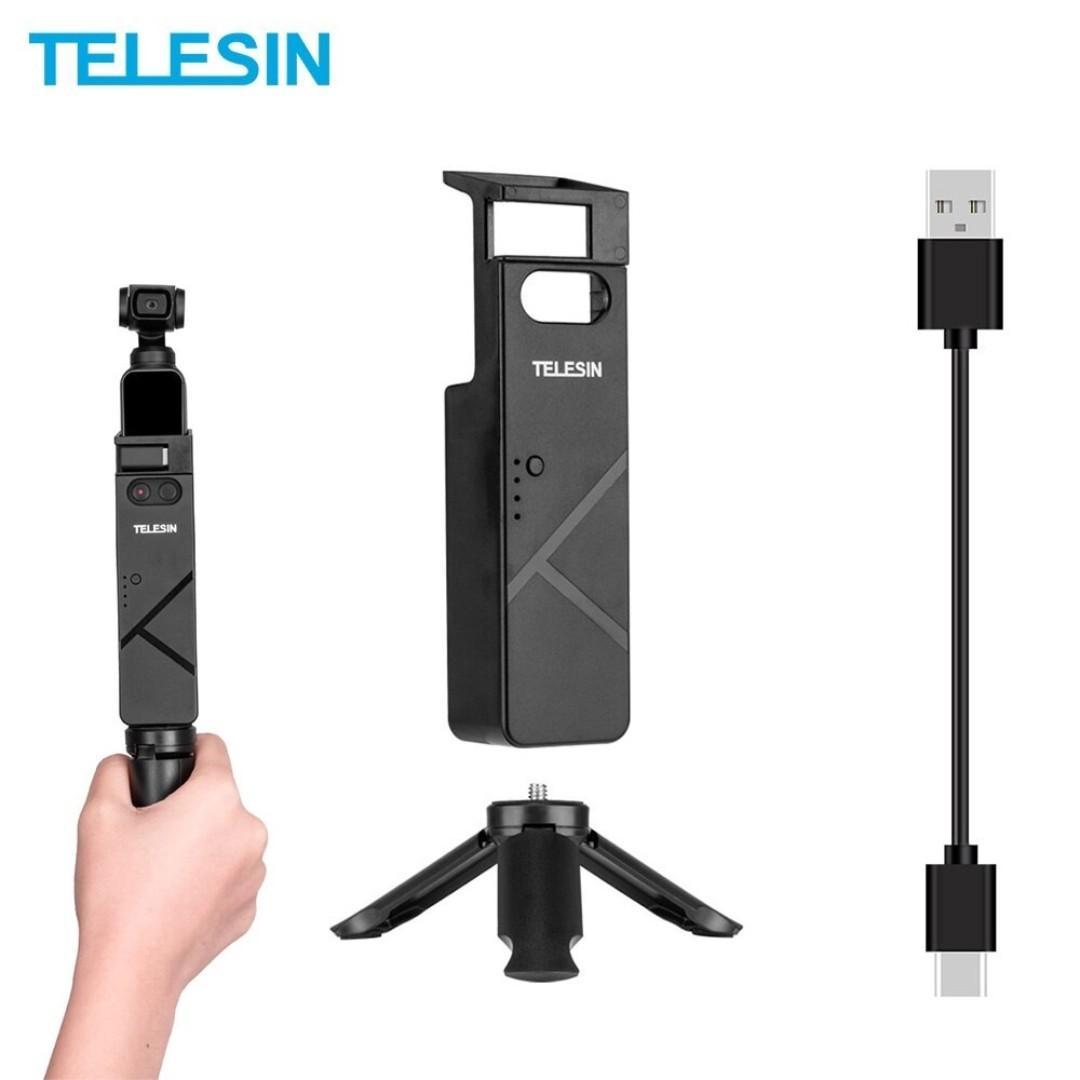 TELESIN 3000mAh Portable Powerbank Handle with Mini Tripod Mount Holder For DJI Osmo Pocket Gimbal Camera