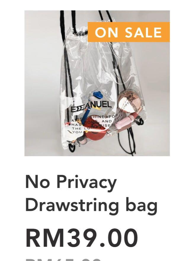 Transparent Emmanuel backpack (ORIGINAL PRICE RM39. NOW RM20pull string to secure your stuff)