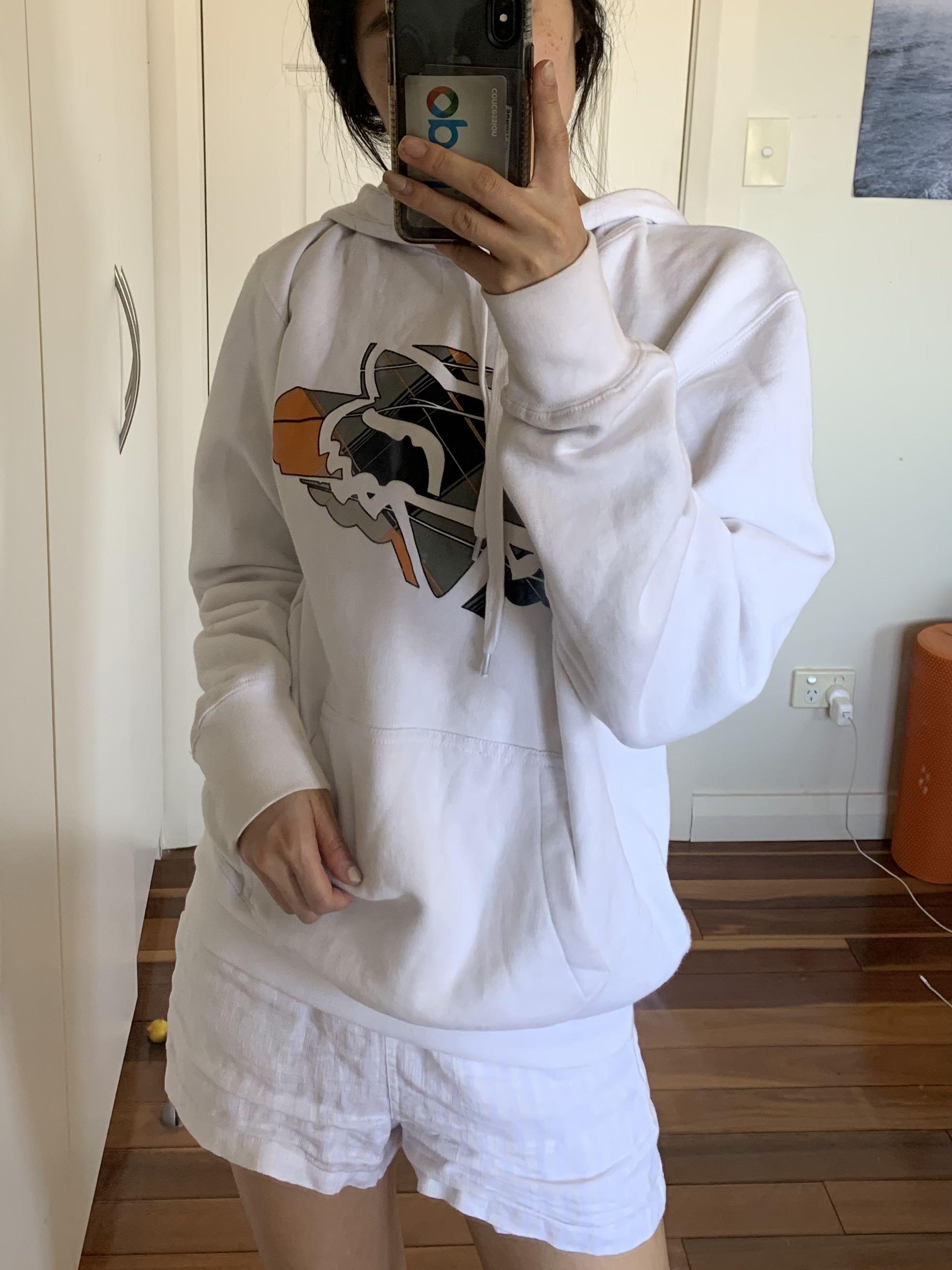 Unisex Foxhead fox racing sports white hoodie size M